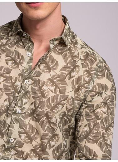 Dufy Baskili Hafıf Erkek Gömlek - Slim Fit Haki